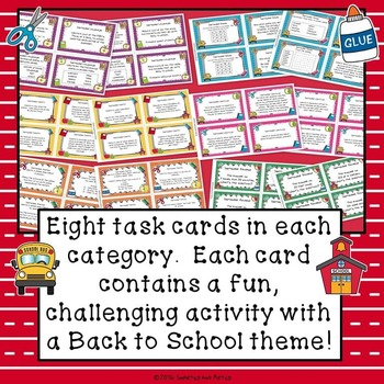 September Back to School Task Card Choice Board for Fast Finishers