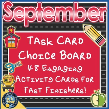 September Back to School Task Card Choice Board for Fast F
