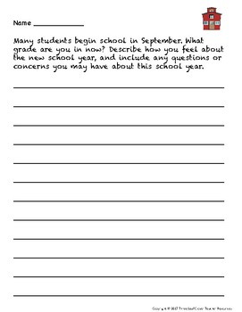 September Back to School Writing Prompts with Vocabulary Cards Great for ESL/ENL
