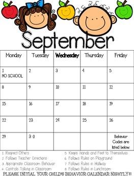 September Behavior Calendar