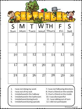 september behavior calendar editable 2018 2019