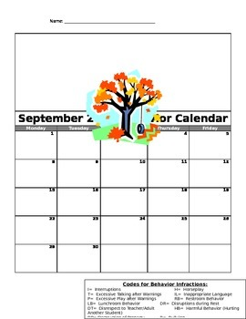 September Behvavior Calendar 2014