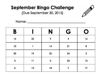 September Bingo Challenge Homework (Kindergarten)