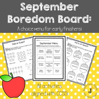 September Boredom Board: Activities for Early Finishers