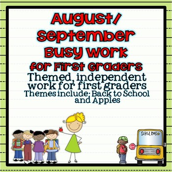 August ~ September Busy Work Pack for First Graders {Back to School}