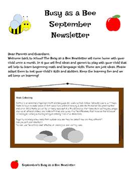 September Busy as a Bee Newsletter
