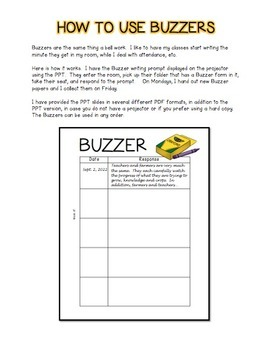 Buzzer Packet SEPTEMBER (Bell Work-Journal) Common Core Writing Prompts