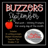 Buzzer Packet SEPTEMBER (Bell Work-Journal) Common Core Wr