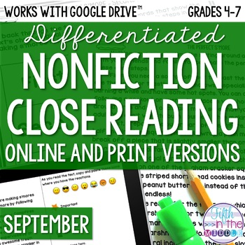 September COMBO Differentiated Nonfiction Close Reading Texts and Activities