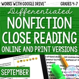 September COMBO Differentiated Nonfiction Close Reading Te