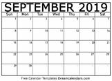 September Calendar 2019 - Printable Template