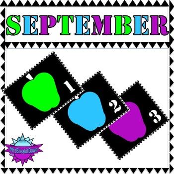 September Calendar: Apples, Bold and Bright (Black Background)