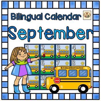 September Calendar. Bilingual