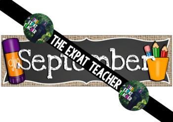 September Calendar: Burlap and Chalkboard