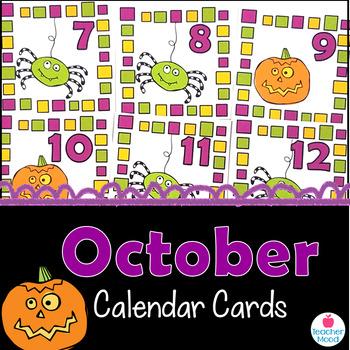October Calendar Cards {Halloween} Pumpkin Spider {Morning