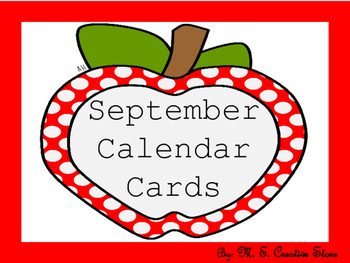 September Calendar Cards (English and Spanish)