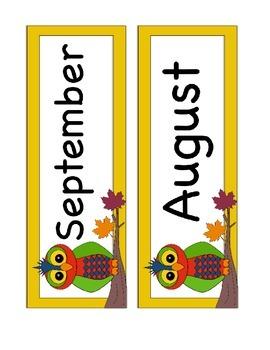August or September Calendar Cards - Fall Owl Themed - ABC Pattern