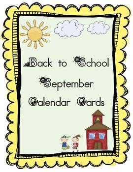 September Calendar Cards Freebie