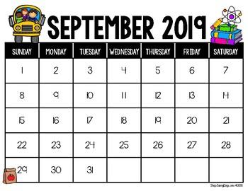 September Calendar Center Task Cards