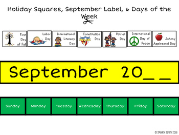 September Calendar Concepts: Following Directions & Answering Wh-Questions