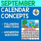 September Calendar Concepts: Following Directions & Answer