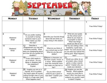 September Calendar Editable Journal Prompts