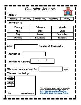 September Calendar Journal Free Preview