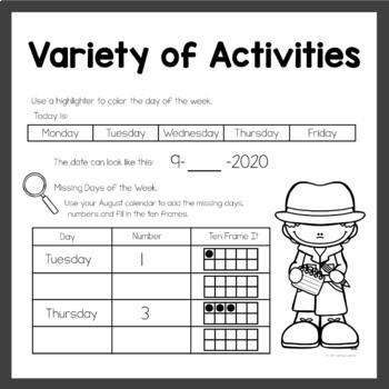 Calendar Activities for September Math Meeting