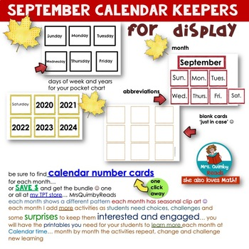 Calendar Number Cards for September | Math Activities | Daily Calendar Page