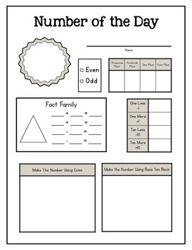 September Calendar Math and Number of the Day Freebie!