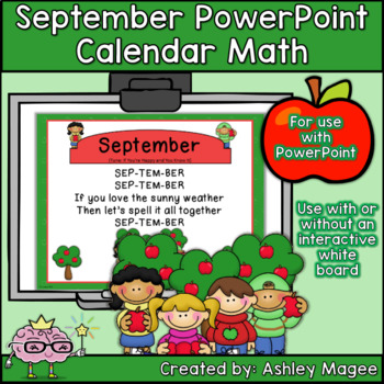 September Calendar Math - in PowerPoint - use with or without interactive board