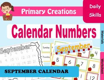 September Preschool and PreK Calendar Numbers