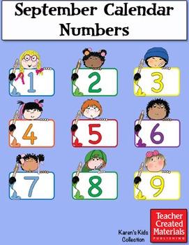 September Calendar Numbers by Karen's Kids (Digital Download)