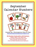 September Calendar Numbers with Patterns
