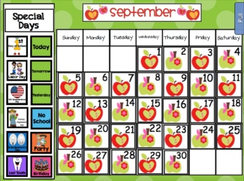 2016 September Calendar Pack for SMARTboard - Apple Theme