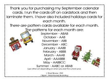 September Calendar Pattern Cards - AB Pattern