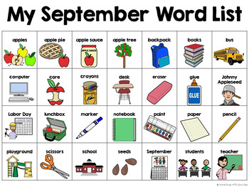 September Calendar Pieces & Word Wall--Back to School, Apples