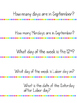 September Calendar Questions