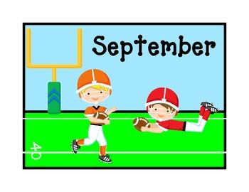 September Calendar Topper with ABC patterned date cards- kindergarten