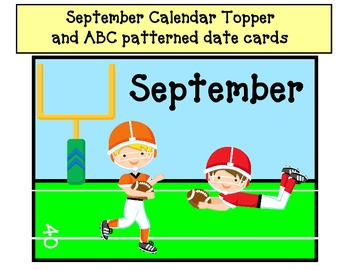 September Calendar Topper with ABC patterned date cards- k
