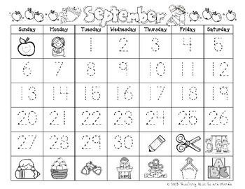 September Calendar - Trace and Blank Template