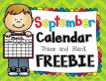 September Calendar - Trace and Blank Template