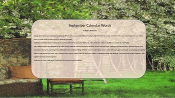 September Calendar Words
