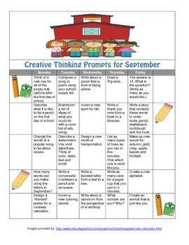 September Calendar of Creative Thinking