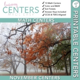 November Centers — First Grade MATH ONLY
