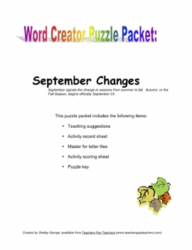September Changes Puzzle Packet: Word Creator