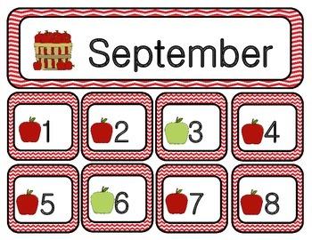 September Chevron Calendar Set