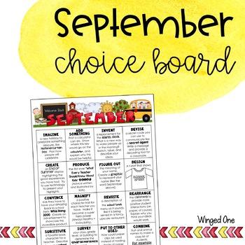 September Early Finishers: Choice Board {Intermediate}