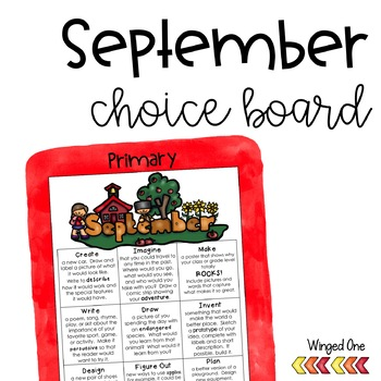 September Early Finishers {Primary} Choice Board