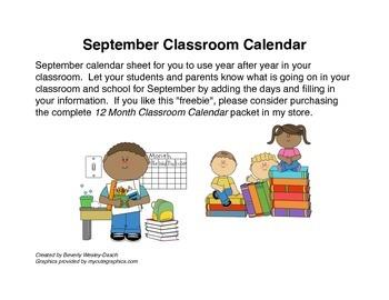September Classroom Calendar